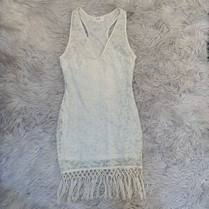 Delicate Laced Crochet Swim Cover-Up with Fringe
